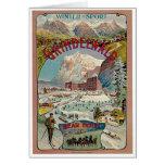 Poster del viaje del vintage del Invierno-Deporte  Tarjeta