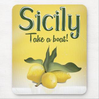 Poster del viaje del vintage del limón de Sicilia Alfombrillas De Ratones