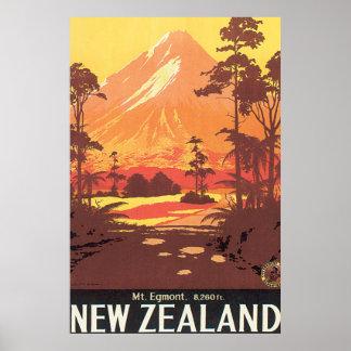 Poster del viaje del vintage del Mt. Egmont Nueva