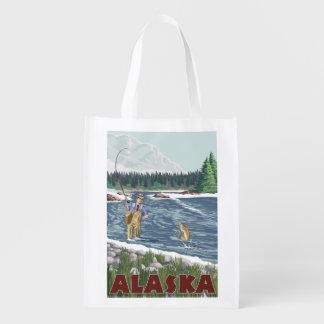 Poster del viaje del vintage del pescador de bolsa reutilizable