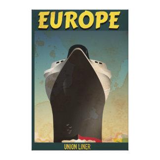 Poster del viaje del vintage del trazador de lona envuelta para galerias