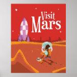 Poster del viaje del vintage del viaje de Marte