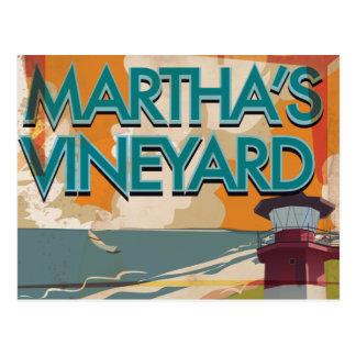 Poster del viaje del vintage del viñedo de Marthas Postal