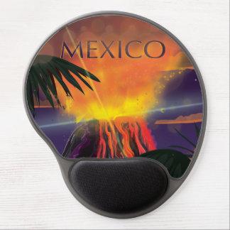 Poster del viaje del vintage del volcán de México Alfombrillas De Ratón Con Gel