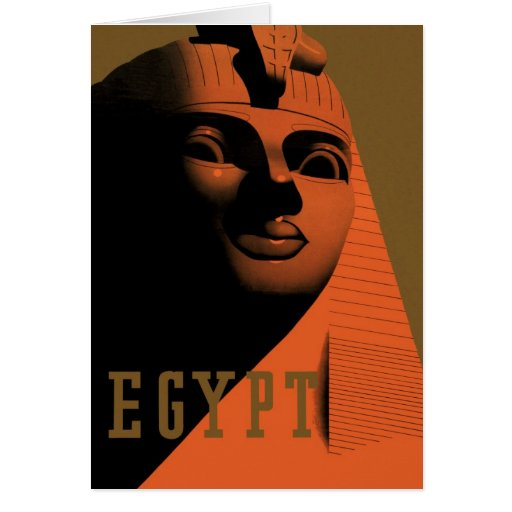 Poster del viaje del vintage, Egipto, África con l Tarjeton