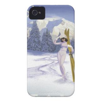 Poster del viaje del vintage, esquí Italia iPhone 4 Case-Mate Carcasas