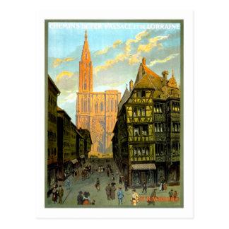 Poster del viaje del vintage, Estrasburgo Postales