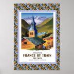 Poster del viaje del vintage, Francia en tren