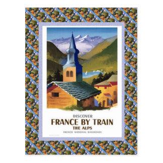 Poster del viaje del vintage, Francia en tren Tarjeta Postal