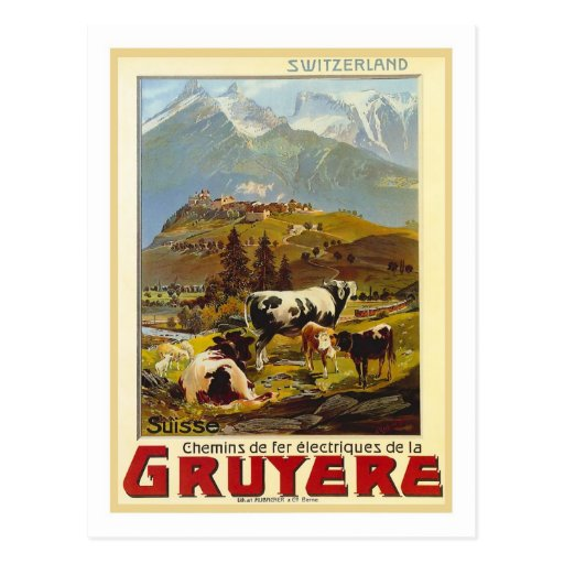 Poster del viaje del vintage, gruyere tarjeta postal