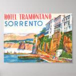 Poster del viaje del vintage, hotel Sorrento Itali