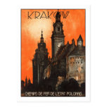 Poster del viaje del vintage, Kraków Postales