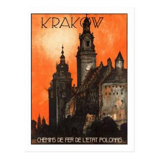 Poster del viaje del vintage, Kraków Postal