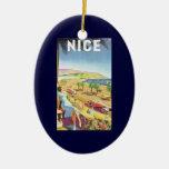 Poster del viaje del vintage, la costa Niza de Adorno Navideño Ovalado De Cerámica