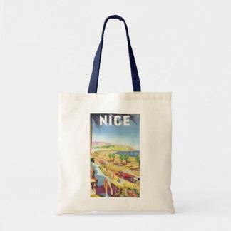 Poster del viaje del vintage, la costa Niza de Bolsa Tela Barata