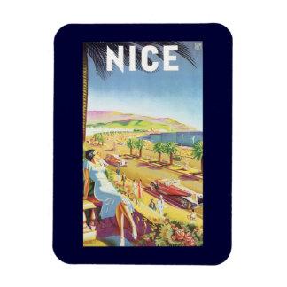 Poster del viaje del vintage, la costa Niza de Iman De Vinilo