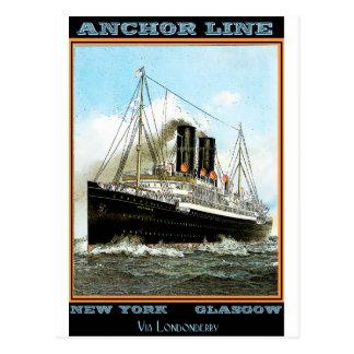 Poster del viaje del vintage: Línea del ancla Postales