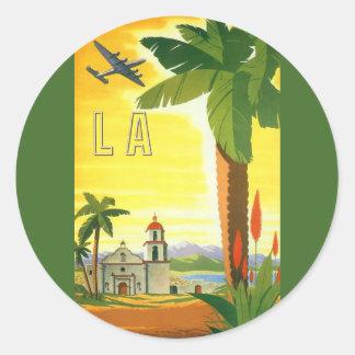 Poster del viaje del vintage Los Ángeles Califor Etiqueta Redonda