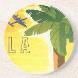 Poster del viaje del vintage, Los Ángeles, Califor Posavasos Para Bebidas