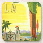 Poster del viaje del vintage, Los Ángeles, Califor Posavasos