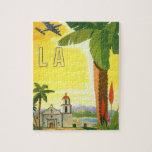 Poster del viaje del vintage, Los Ángeles, Califor Rompecabezas