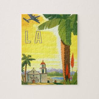Poster del viaje del vintage Los Ángeles Califor Rompecabezas