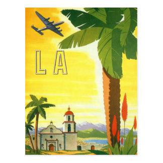 Poster del viaje del vintage Los Ángeles Califor Tarjeta Postal