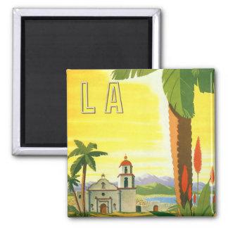 Poster del viaje del vintage, Los Ángeles, Imán Cuadrado
