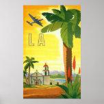 Poster del viaje del vintage, Los Ángeles, Póster