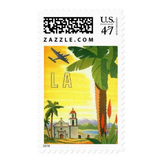 Poster del viaje del vintage, Los Ángeles, Timbres Postales
