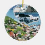 Poster del viaje del vintage, mapa de la isla de adorno navideño redondo de cerámica