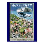 Poster del viaje del vintage, mapa de la isla de tarjetas postales