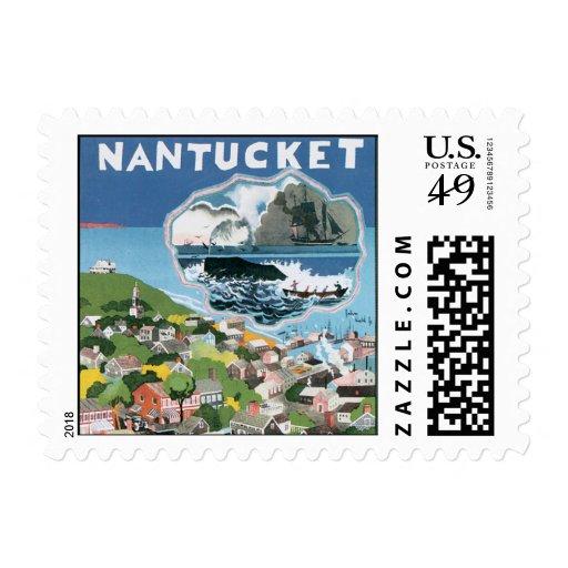 Poster del viaje del vintage, mapa de la isla de timbres postales