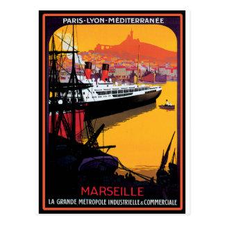 Poster del viaje del vintage Mediterráneo Postales