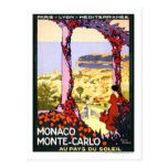 Poster del viaje del vintage, Monte Carlo Tarjeta Postal