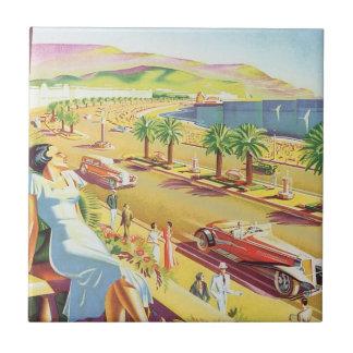 Poster del viaje del vintage, Niza, Francia Azulejo Cuadrado Pequeño