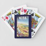 Poster del viaje del vintage, Niza, Francia Baraja De Cartas