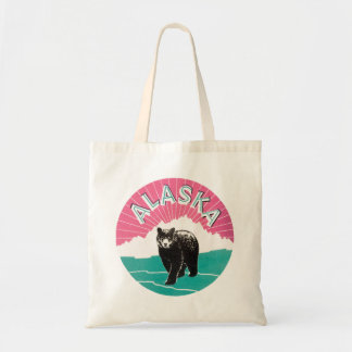 Poster del viaje del vintage, oso negro de Alaska Bolsa Tela Barata