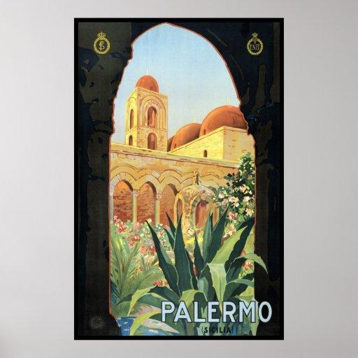 Poster del viaje del vintage, Palermo, Sicilia,