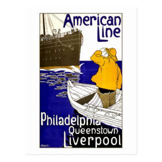 Poster del viaje del vintage para la línea postal