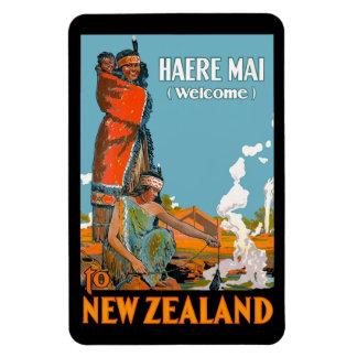 Poster del viaje del vintage para Nueva Zelanda Rectangle Magnet