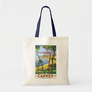 Poster del viaje del vintage, playa en Cannes, Bolsa Tela Barata