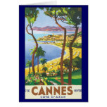 Poster del viaje del vintage, playa en Cannes, Fra Tarjetas