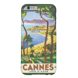Poster del viaje del vintage, playa en Cannes, Funda Para iPhone 6 Barely There