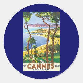Poster del viaje del vintage, playa en Cannes, Pegatina Redonda