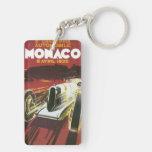 Poster del viaje del vintage, raza auto de Mónaco Llavero Rectangular Acrílico A Doble Cara