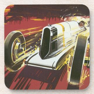 Poster del viaje del vintage, raza auto de Mónaco Posavasos