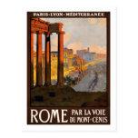 Poster del viaje del vintage, Roma Tarjeta Postal