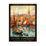 Poster del viaje del vintage, santo Malo Tarjeta Postal