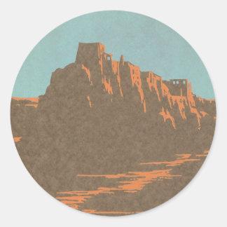 Poster del viaje del vintage, Taos, New México Pegatina Redonda
